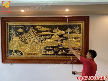 Tranh Đồng Cội Nguồn Quê Hương 2m55 x 1m35 Mạ vàng bàn giao lắp đặt khách Hà Nội.!