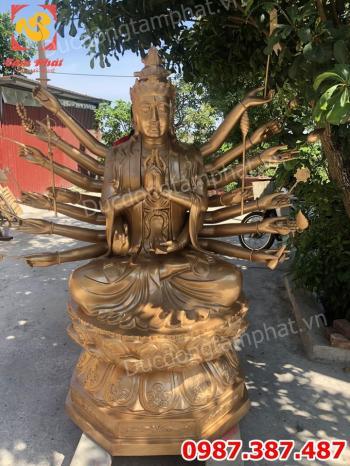Tượng Phật Chuẩn Đề bằng đồng cao 2m nặng 800kg cho chùa Ninh Bình.!!