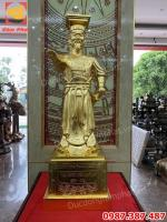 Tượng đồng vua Đinh Tiên Hoàng cao 90cm Dát vàng 9999