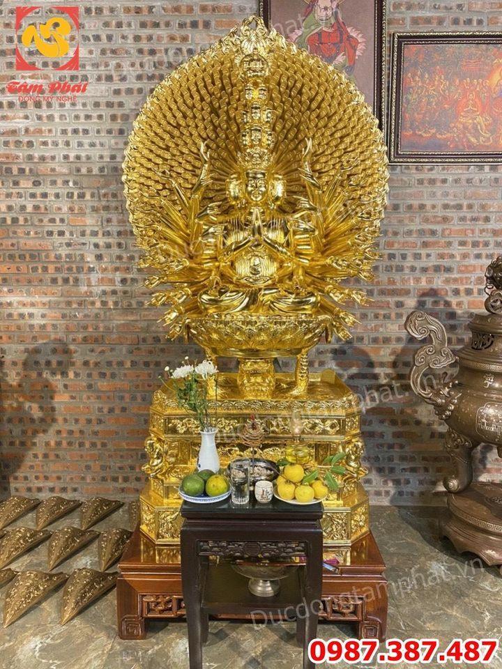 Tượng Phật Thiên Thủ Thiên Nhãn cao 2m bằng đồng dát vàng 9999