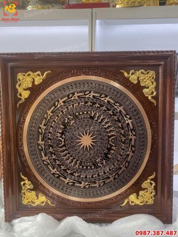 Mặt trống đồng đỏ đường kính 80cm khung gỗ 1m1 lắp đặt tại nhà khách Hưng Yên.!