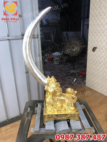 Đúc Giá Ngà Bằng Đồng dát vàng 9999 độc đáo tinh xảo