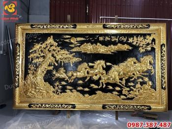 Tranh Đồng Bát Mã Thành công, Tranh Ngựa 2m75 x 1m57 Mạ vàng hoàn thiện khách hàng Nghệ An