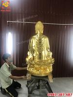 Tượng Phật Thích Ca cao 1m2 đồng đỏ dát vàng giao chùa Quảng Ninh