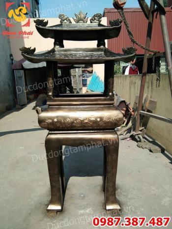 Lư Hương Hóa Vàng chạm hoa sen cao 1m85 nặng 500kg đóng gói bàn giao cho chùa Phúc Khánh