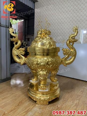 Đỉnh Cửu Long - Đỉnh Rồng đúc đồng đỏ dát vàng 9999 cao 1m17