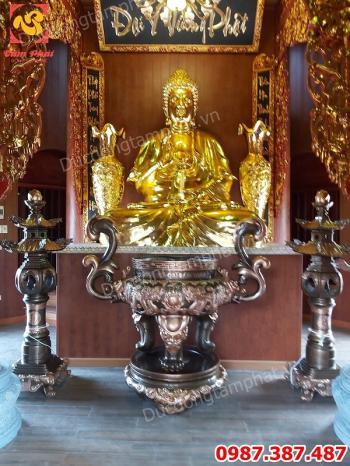 Tượng Phật Adida ngồi đài sen cao 3m bằng đồng dát vàng nặng 3 tấn lắp cho chùa Đống Cao - Hưng Yên