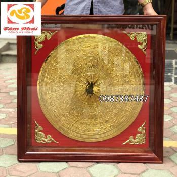 Mặt trống đồng mạ vàng khung gỗ vuông 80 cm