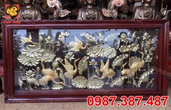Tranh Phong Cảnh, Tranh Sen Hạc Mẫu Mới Nhất 2m3